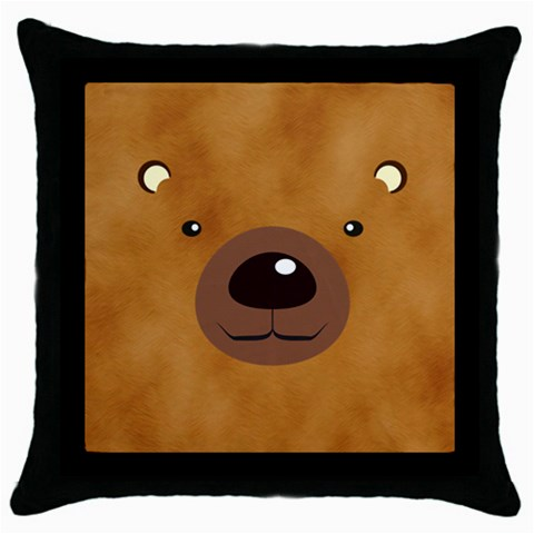 Bear By Divad Brown   Throw Pillow Case (black)   I1jgdw6605x7   Www Artscow Com Front