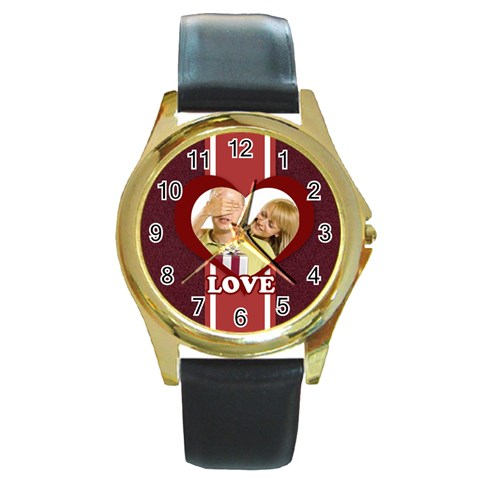 Love By May   Round Gold Metal Watch   Nhwkq4i7a2kd   Www Artscow Com Front