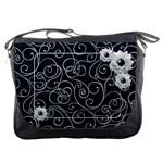 Swirly White Flower Messenger Bag