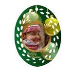Green Christmas Filigree Oval Ornament - Ornament (Oval Filigree)