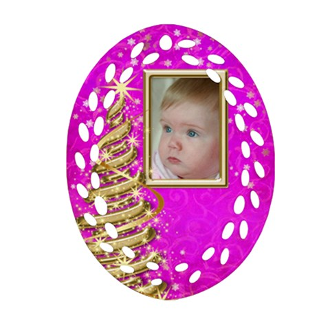 My Little Pink Princess Filigree Ornament By Deborah   Ornament (oval Filigree)   Dhgxmx949ykp   Www Artscow Com Front