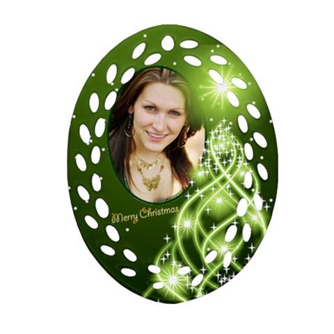 Christmas Filigree Oval Ornament 7 By Deborah   Ornament (oval Filigree)   L4yk9owdpw2j   Www Artscow Com Front