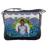 blue floral  Messenger Bag
