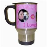 Pink Daisy Travel Mug - Travel Mug (White)