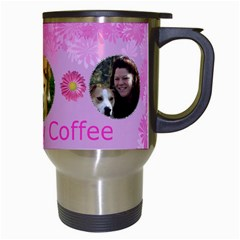Pink Daisy Travel Mug By Kim Blair   Travel Mug (white)   Sq1act9nrfm5   Www Artscow Com Right