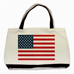 Flag Twin Sided Black Tote Bag by tammystotesandtreasures