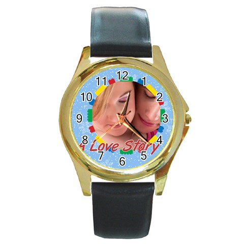 A Love Story By May   Round Gold Metal Watch   Eci74soqmr78   Www Artscow Com Front