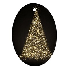 Christmas Tree Sparkle Jpg Oval Ornament (Two Sides)