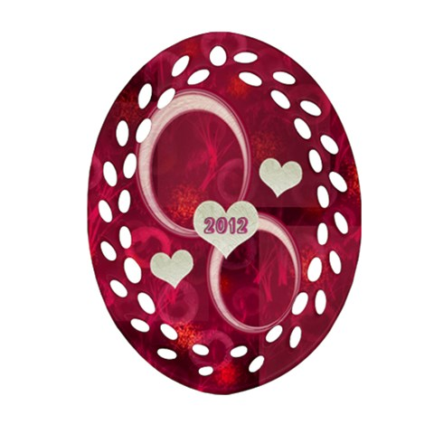 Pink Love Oval Filigree Ornament By Ellan   Ornament (oval Filigree)   J0ctkss5spb3   Www Artscow Com Front