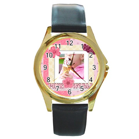 Pink World By Joely   Round Gold Metal Watch   M6hyh8yozzuz   Www Artscow Com Front