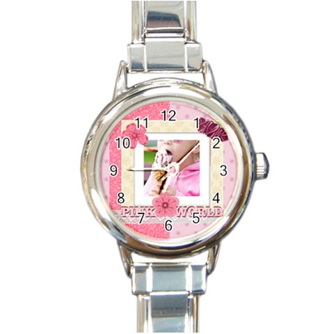 Pink World By Joely   Round Italian Charm Watch   Pp32sf2q8afn   Www Artscow Com Front