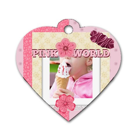 Pink World By Joely   Dog Tag Heart (one Side)   Rsymw6izj67p   Www Artscow Com Front