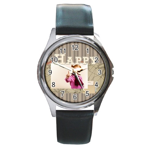 Happy Day By Joely   Round Metal Watch   J3x2mq2n3nz7   Www Artscow Com Front