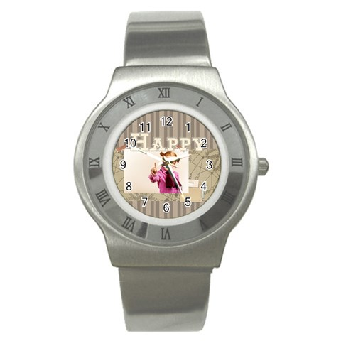 Happy Day By Joely   Stainless Steel Watch   1g3botp65c5v   Www Artscow Com Front