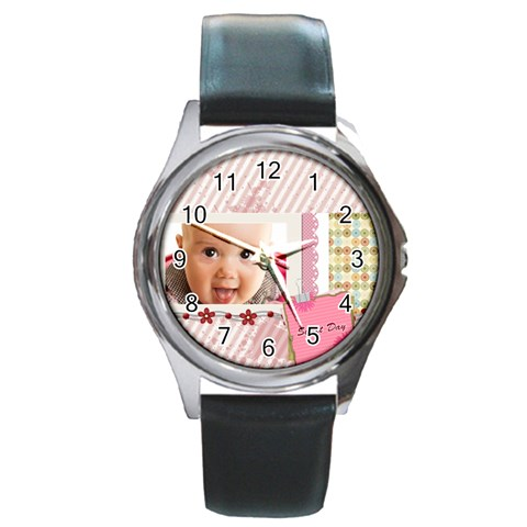 Sweet Day By Joely   Round Metal Watch   2zkyqvbsuz8h   Www Artscow Com Front