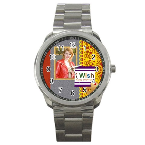 Happy Day By Joely   Sport Metal Watch   Pr5wsaose4va   Www Artscow Com Front