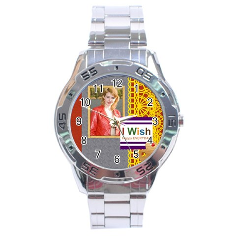 Happy Day By Joely   Stainless Steel Analogue Watch   Tm0yw33rhm5o   Www Artscow Com Front