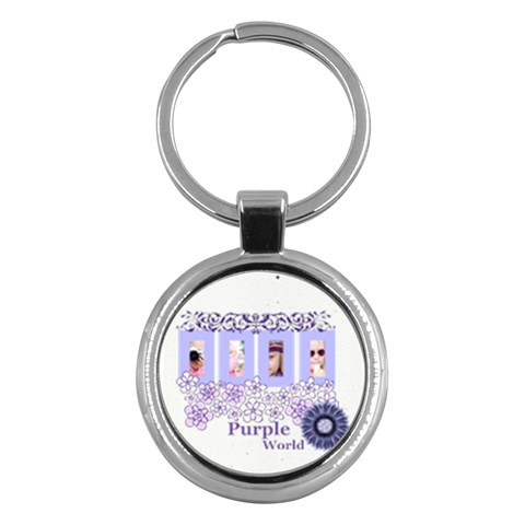 Purple World By Joely   Key Chain (round)   Eb3s9udfv3fa   Www Artscow Com Front