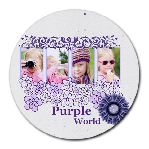 Purple World By Joely   Round Mousepad   2f9w15zgcnb7   Www Artscow Com Front