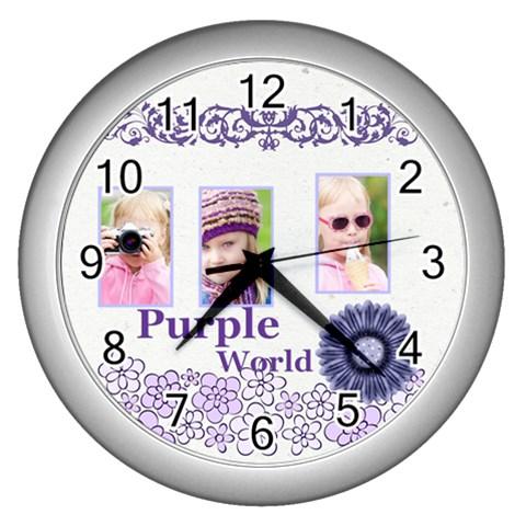 Purple World By Joely   Wall Clock (silver)   R6gm1dlk35ln   Www Artscow Com Front