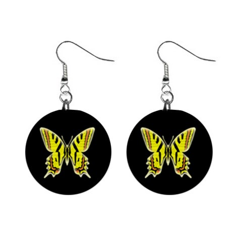 Yellow Butterfly Earrings By Kim Blair   1  Button Earrings   A17uumugmxuj   Www Artscow Com Front