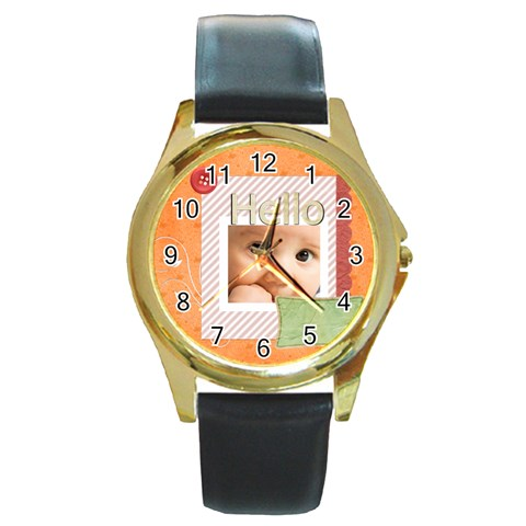 Hello By Joely   Round Gold Metal Watch   Yahmbpp2rn49   Www Artscow Com Front