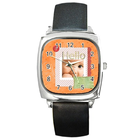Hello By Joely   Square Metal Watch   5d29860vuhic   Www Artscow Com Front