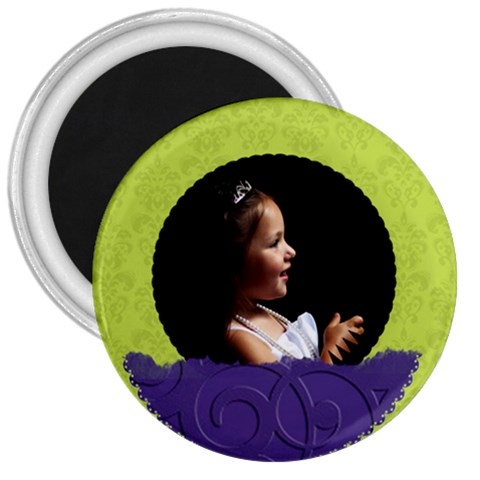 Purple Green Circle By Patricia W   3  Magnet   Vu5em92jiluf   Www Artscow Com Front