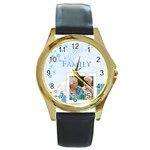 family - Round Gold Metal Watch