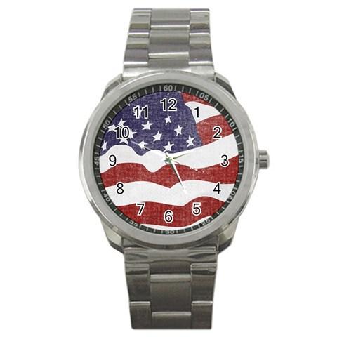 Flag Sport Metal Watch By Eleanor Norsworthy   Sport Metal Watch   Io1tgobw35qc   Www Artscow Com Front