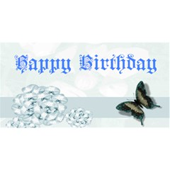 Blue Floral Birthday Card By Kim Blair   Happy Birthday 3d Greeting Card (8x4)   7w5hcz4d33rc   Www Artscow Com Front