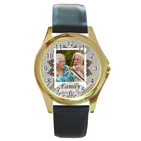 Family By Joely   Round Gold Metal Watch   6fxzbmvssua5   Www Artscow Com Front