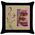 Tulip Throw Pillow in Pink - Throw Pillow Case (Black)