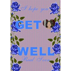 Blue Rose Get Well Card By Kim Blair   Get Well 3d Greeting Card (7x5)   89cmpne3wbev   Www Artscow Com Inside