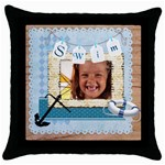 swim - Throw Pillow Case (Black)