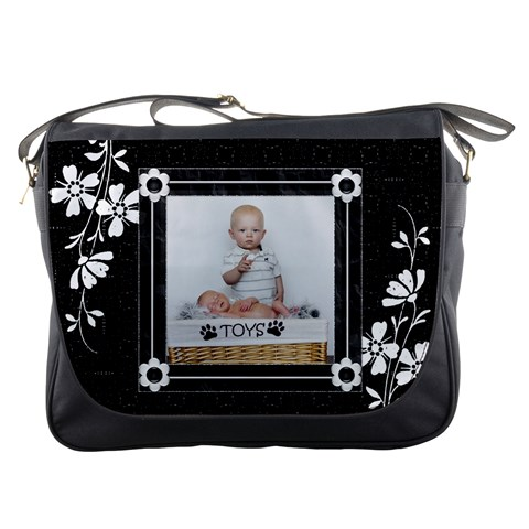 Black And White Messenger Bag By Lil    Messenger Bag   14dzt2exmr1s   Www Artscow Com Front