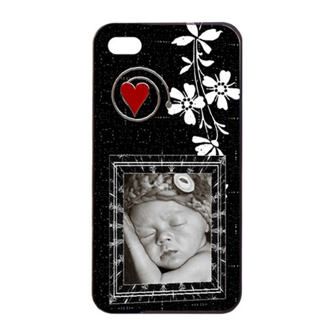 Black And White Apple Iphone 4/4s Seamless Case By Lil    Apple Iphone 4/4s Seamless Case (black)   Mn73nhklf3ly   Www Artscow Com Front