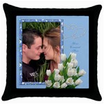 Tulips in blue Throw Pillow - Throw Pillow Case (Black)