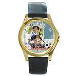 soccer - Round Gold Metal Watch