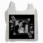 Black and White Recycle Bag (One Sided) - Recycle Bag (One Side)
