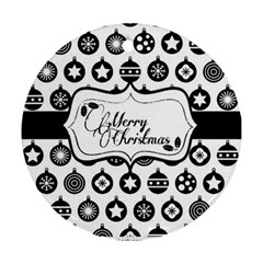 Stock Vector Wrapping Paper With Black And White Christmas Baubles And Banner 61413298 Ceramic Ornament (round) by ornamentcc