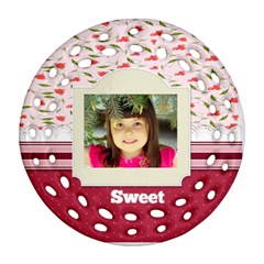 Sweet By Divad Brown   Round Filigree Ornament (two Sides)   Ynwtzkk54rdq   Www Artscow Com Back