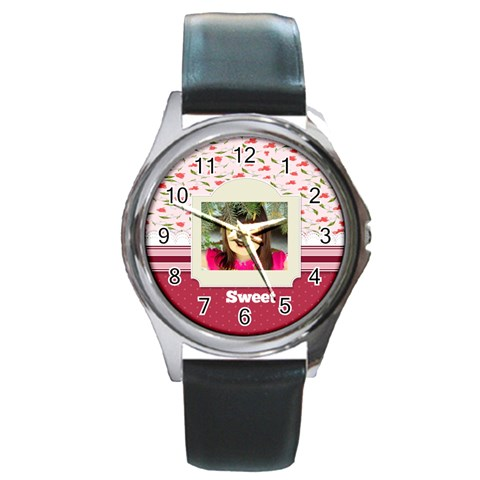 Sweet By Divad Brown   Round Metal Watch   G92ssgr86pxg   Www Artscow Com Front