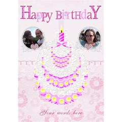 Pink Lace Happy Birthday 3d Cake Card By Claire Mcallen   Birthday Cake 3d Greeting Card (7x5)   Vlpv5hzk1x17   Www Artscow Com Inside