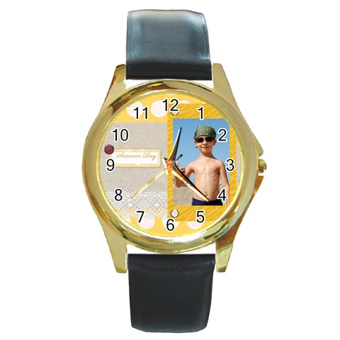 Summer By Joely   Round Gold Metal Watch   Ze3k79ibb4tp   Www Artscow Com Front