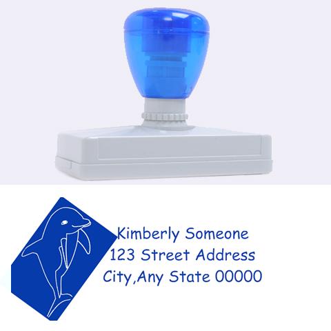 Dolphin Address Stamp By Kim Blair   Rubber Address Stamp (xl)   Mu1tehkb3i52   Www Artscow Com 3.13 x1.38  Stamp