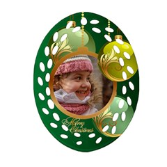 Green Christmas Filigree Oval Ornament (2 Sided) By Deborah   Oval Filigree Ornament (two Sides)   6m0jwoo11ktl   Www Artscow Com Front