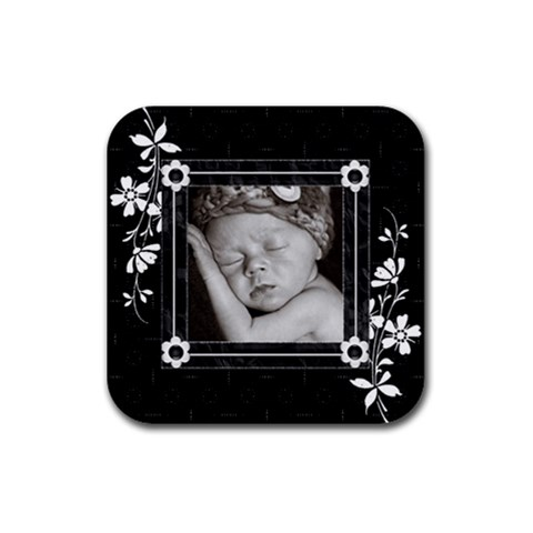 Black And White Square Rubber Coaster By Lil    Rubber Coaster (square)   8dgatmyu0fl9   Www Artscow Com Front