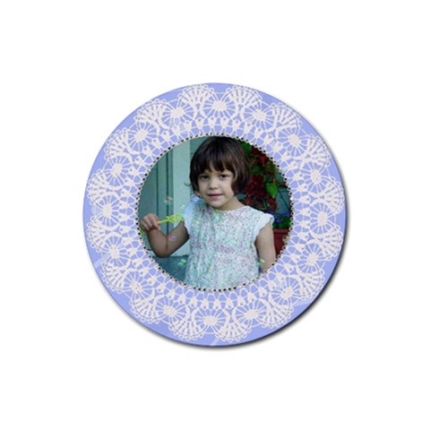 Light Blue Round Doilie Coaster By Kim Blair   Rubber Round Coaster (4 Pack)   Awgnum7n6e3m   Www Artscow Com Front