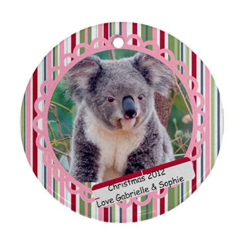 Koala By Gabrielle Grant   Ornament (round)   A8o6w3dg1404   Www Artscow Com Front